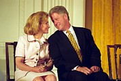 Bill Clinton Photo Framed Prints - First Lady Hillary Clinton Framed Print by Everett