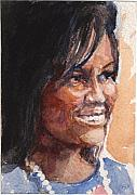 Michelle Obama Paintings - First Lady in blue by Nancy Watson