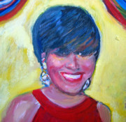 Diamond Earrings Painting Framed Prints - First Lady in Red Framed Print by Patricia Taylor