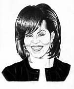 Jeff Pencil Drawings Drawings Prints - First Lady Print by Jeff Stroman