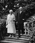 Dog Walking Posters - First Lady Lou Henry Hoover, President Poster by Everett