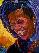First Lady Painting Framed Prints - First Lady Michele Obama Framed Print by David Lloyd Glover