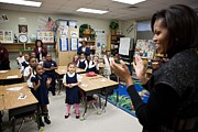 Obama Children Posters - First Lady Michelle Obama Claps Poster by Everett