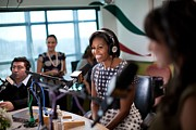 Microphones Prints - First Lady Michelle Obama Does An Print by Everett