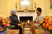 Michelle Obama Framed Prints - First Lady Michelle Obama Meets Framed Print by Everett