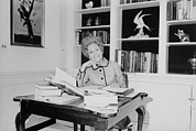 First Lady Pat Nixon Working At A Small Print by Everett