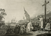 Colonial Man Prints - First Landing Of Columbus In The New Print by Photo Researchers