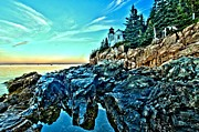 Bass Harbor Lighthouse Posters - First Light At Bass Harbor Poster by Adam Jewell
