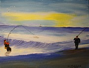 Surf Fishing Drawings Originals - First Light First Wave First Fish by Bill Hubbard