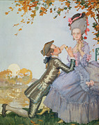 Courting Painting Prints - First Love Print by Konstantin Andreevic Somov