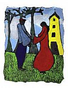 African Art Painting Posters - First Love Poster by Wayne Potrafka