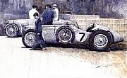 People Paintings - First Met Up Talbot Lago Le Mans 1950 by Yuriy  Shevchuk