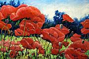 Prankearts Paintings - First Of Poppies by Richard T Pranke