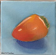 Persimmon Paintings - First Oil Painting by Hannah Sanders