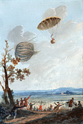 Pioneers Framed Prints - First Parachute Descent, 1797 Framed Print by Library Of Congress