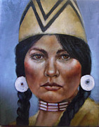 Indian Maiden Paintings - First People III by Geraldine Arata