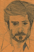 Star Drawings Posters - First Portrait Giancarlo Giannini Poster by Rosy Hall