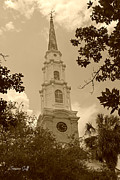 Historical Greeting Card Framed Prints - First Presbyterian Church - Savannah in sepia Framed Print by Suzanne Gaff