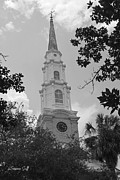 Black And White Religious Art Framed Prints - First Presbyterian Steeple - Savannah GA Framed Print by Suzanne Gaff