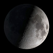 Black Background Art - First Quarter Moon by Stocktrek Images