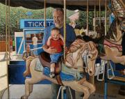Carousel Painting Originals - First Ride by Doug Strickland