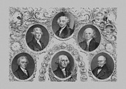 Us Presidents Drawings Framed Prints - First Six U.S. Presidents Framed Print by War Is Hell Store