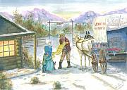 Pioneer Scene Painting Prints - First Snow - Last Call Print by Dan Bozich