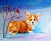 Pembroke Welsh Corgi Framed Prints - First Snow Framed Print by Lyn Cook