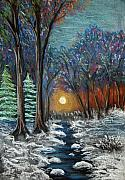 Landscape Greeting Cards Pastels Framed Prints - First Snow Framed Print by Nancy Mueller