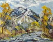 Mountains Painting Originals - First Snow Steamboat Springs Colorado by Zanobia Shalks