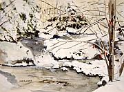 Winter Scene Paintings - First Snowfall by Jean Blackmer