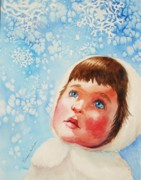 Blue Eyed Girl Prints - First Snowfall Print by Marilyn Jacobson
