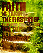 Faith Mixed Media Posters - First Step Poster by Bonnie Bruno