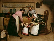 Interior Scene Painting Prints - First Steps Print by George Hall Neale