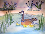 Mother Goose Posters - First Swim Poster by Brenda Bergen