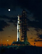 Guided Missiles Framed Prints - First Test Flight Of A Giant Saturn V Framed Print by Everett