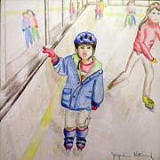 Skating Drawings - First Time Ice Skating by Jacqueline Gutierrez