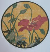Lino Cut Originals - First to Bloom  by Lori Hafner