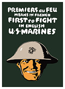 Marines Framed Prints - First To Fight US Marines Framed Print by War Is Hell Store