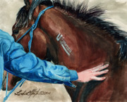 Mustang A Day Challenge Paintings - First Touch by Linda L Martin