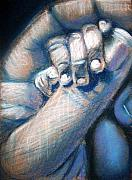 Holding Hands Pastels - First Touch by Maria Mills