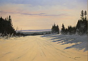 Winter Sports Paintings - first tracks Stratton by Ken Ahlering