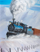 Railroad Snow Paintings - First Train Through by Christopher Jenkins
