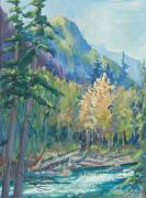 North Cascades Painting Posters - First Turning from Baker River Bridge Poster by Sukey Jacobsen