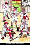Kids Sports Art Mixed Media Posters - First Uniforms Poster by Philip Bracco