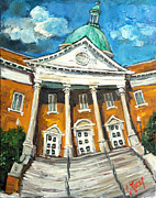 Alabama Painting Posters - First United Methodist Church Athens AL Poster by Carole Foret