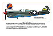P-51-d Mustang Fighter Prints - First Victory Print by Jerry Taliaferro