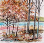 Riverscape - Early Autumn Prints - First Wet Snow Print by John  Williams