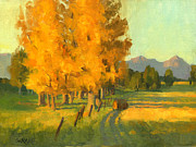 Fall Paintings - First yellow Trees by Douglas Girard