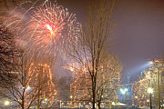 Boston Common Prints - Firstnight Fireworks Print by Susan Cole Kelly